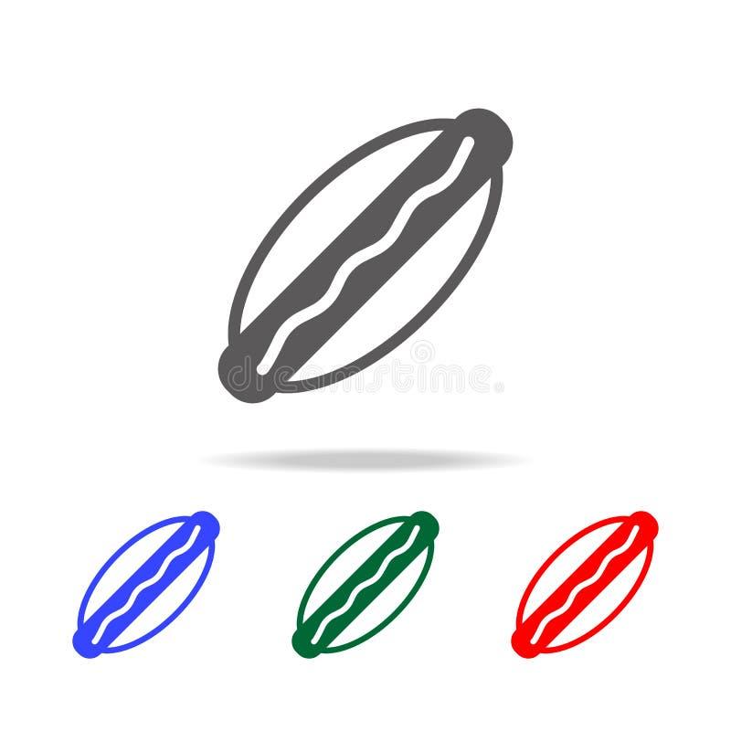Hot dog łasowania prosta czarna ikona Elementy karmowe wielo- barwione ikony Premii ilości graficznego projekta ikona Prosta ikon royalty ilustracja