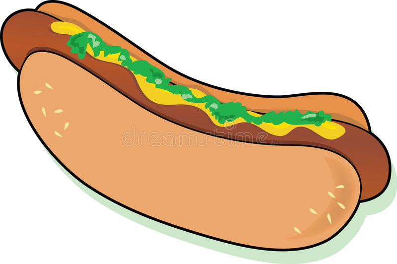 Hot Dog. With relish and mustard stock illustration