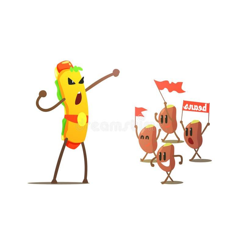 Hot Dog Against Beans Cartoon Fight vector illustration