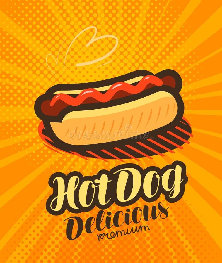 Hot dog americano, manifesto degli alimenti a rapida preparazione Retro stile comico di Pop art Illustrazione di vettore del fume royalty illustrazione gratis