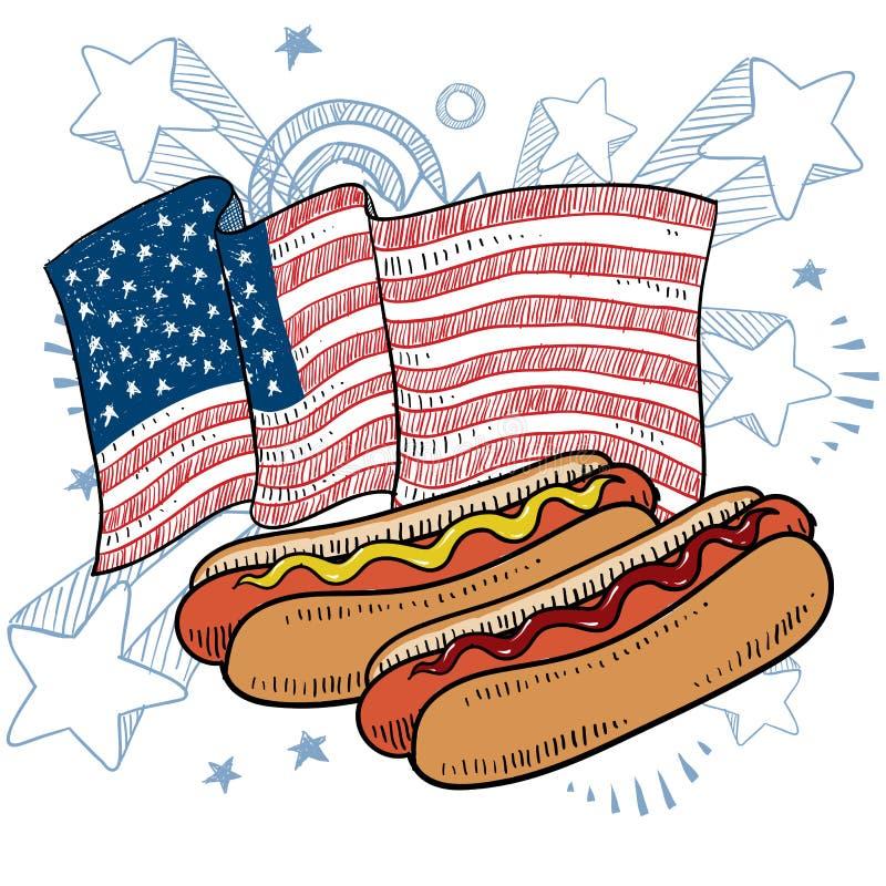 Hot dog amerykański wektor ilustracja wektor