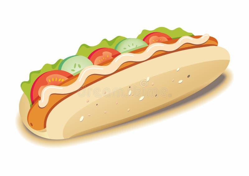 Hot dog appétissant d'isolement sur le fond blanc Hot dog grand illustration stock