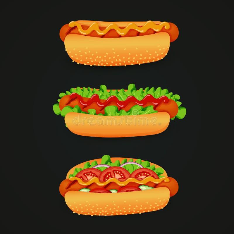 Hot dog arrostiti con differenti ingredienti: ketchup, senape, lattuga, pomodoro, cipolla e cetriolo su un fondo scuro illustrazione vettoriale