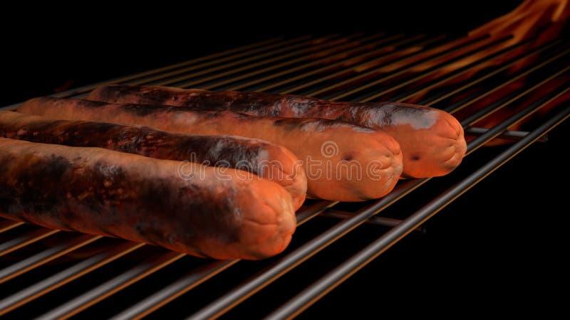 Hot dog au grill d'un barbecue image libre de droits