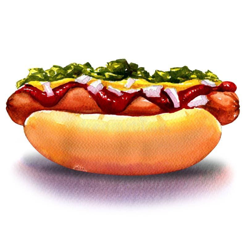 Hot-dog avec de la moutarde de ketchup et légumes illustration stock