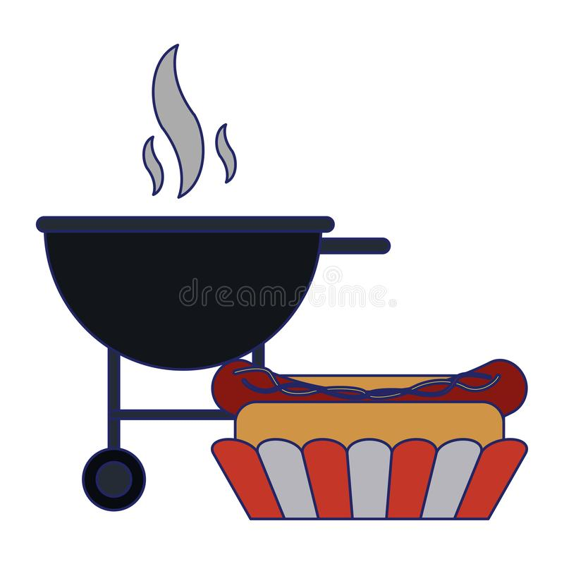 Hot dog bbq grilla fasta food niebieskie linie royalty ilustracja