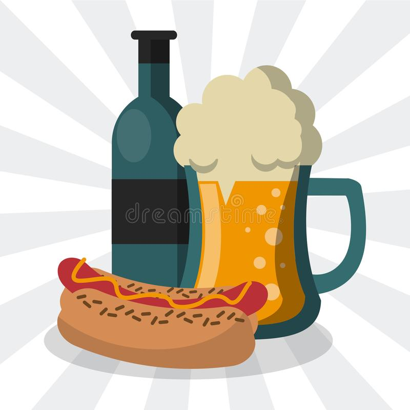 Hot dog and beer cartoon. Hot dog and beer fast food cartoon vector illustration graphic design royalty free illustration