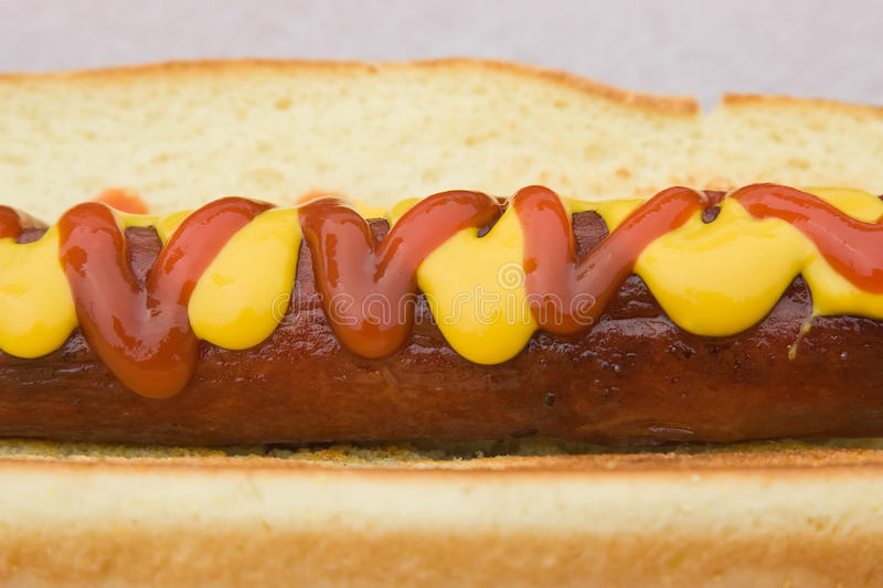 Hot dog on a bun royalty free stock image