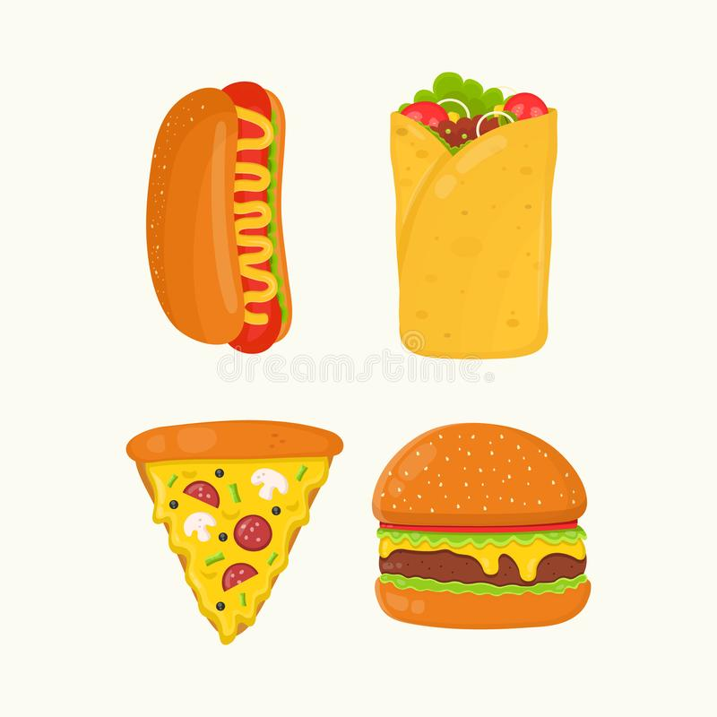 Hot dog, burrito, pizza, hamburger, cheeseburger ilustracja wektor