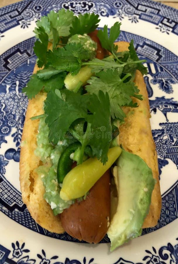 Hot dog caricato all'ambito fotografia stock libera da diritti