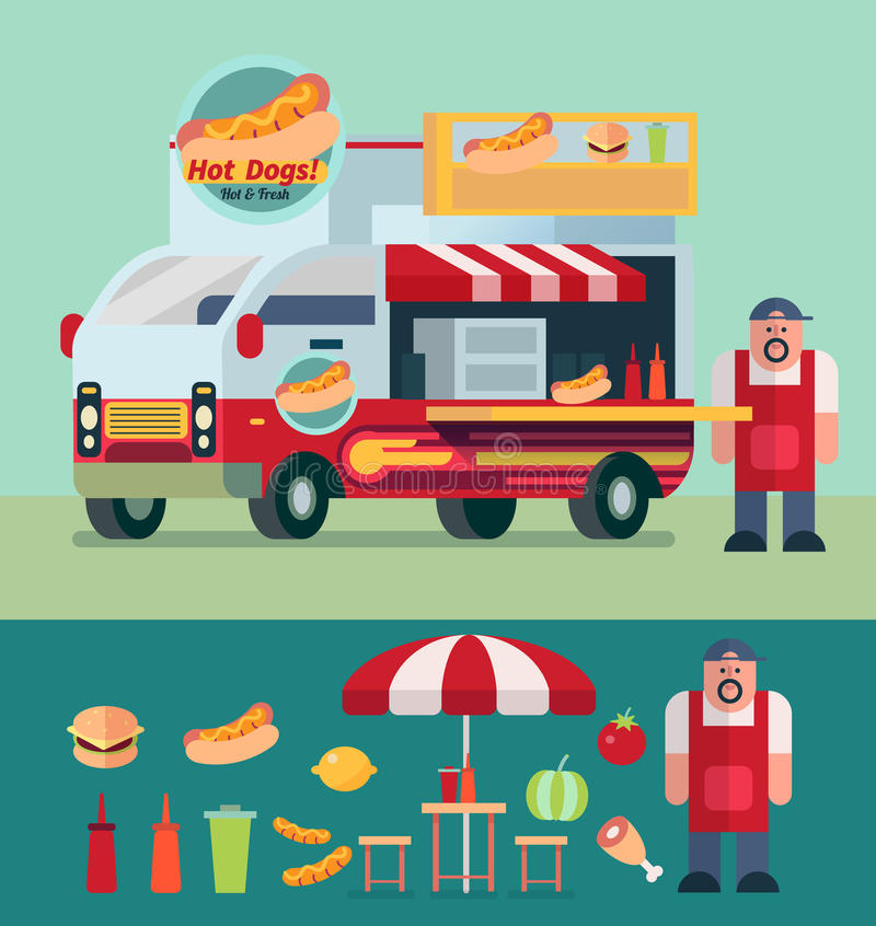 Download Hot Dog Cart And Food Truck With Shop Owner Vector Illustration Stock