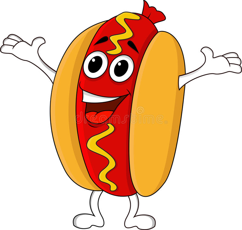 Download Hot dog cartoon stock vector. Image of grilled, funny - 25901291