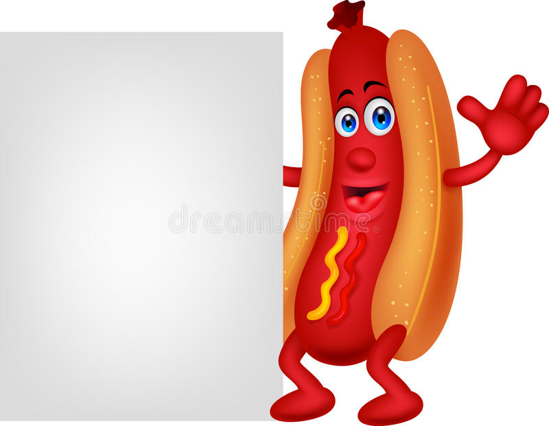 Hot dog cartoon character with blank sign stock illustration