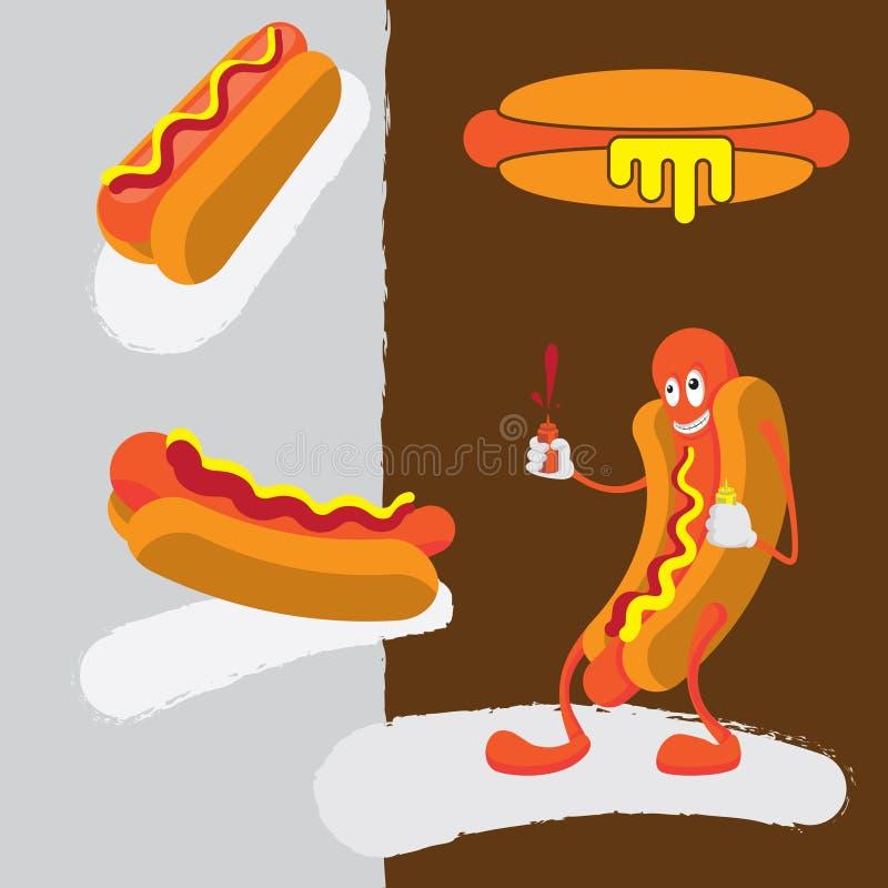 Hot Dog Cartoon Character Squirting Mustard and Ketchup. Hot dog icons royalty free illustration