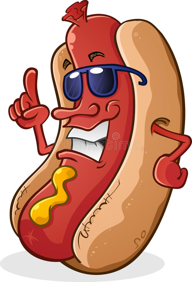 Hot Dog Character With Attitude stock illustration