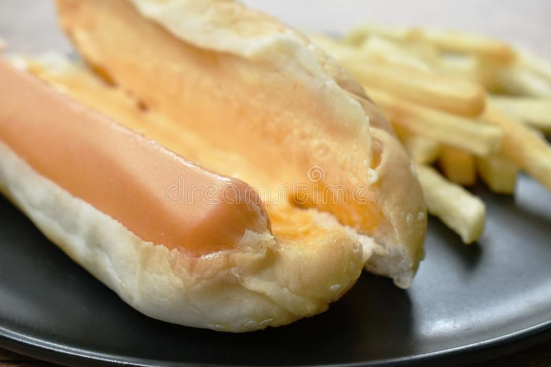 Hot dog with cheese and French fried fast food on dish stock photography