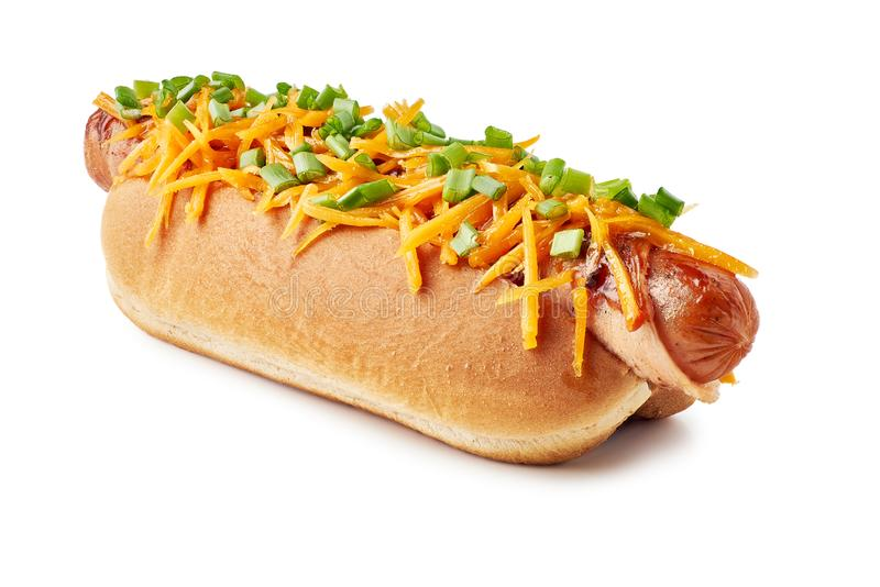 Hot dog with cheese and green onion on white royalty free stock photos