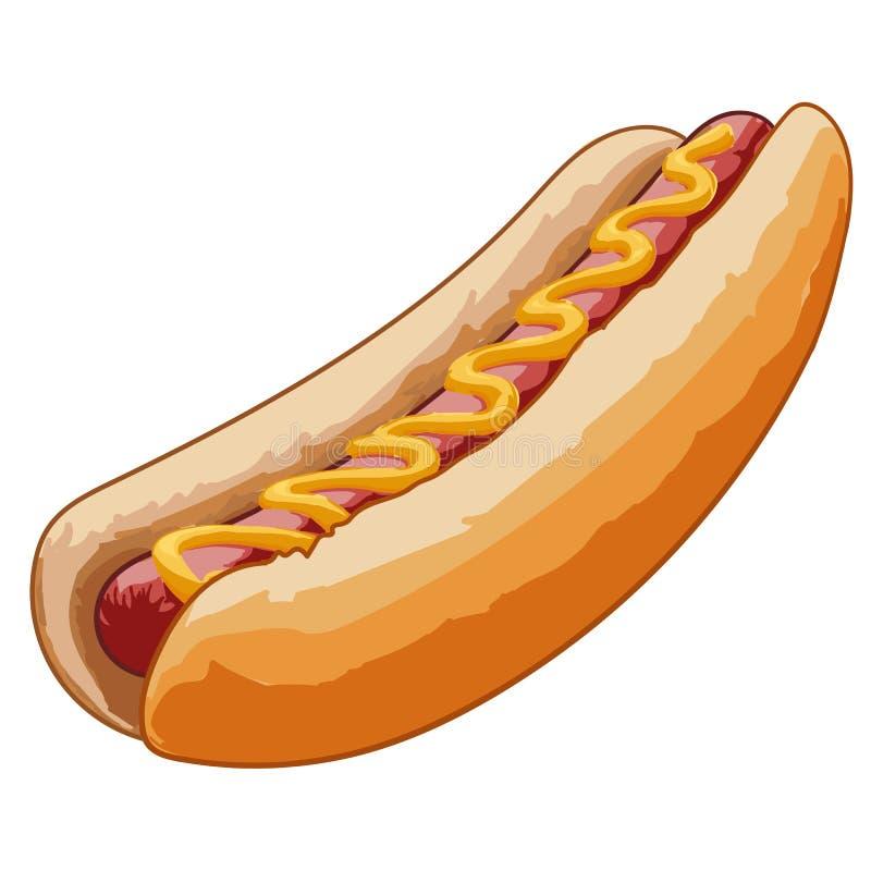 Hot dog con la salsiccia arrostita illustrazione di stock