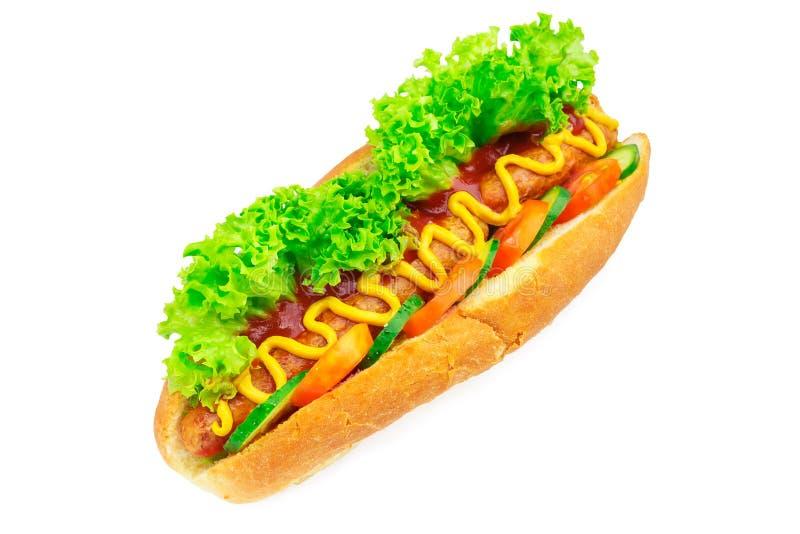 Hot dog con la salsiccia, la lattuga, il pomodoro, il cetriolo, il ketchup e la senape su fondo bianco fotografia stock libera da diritti