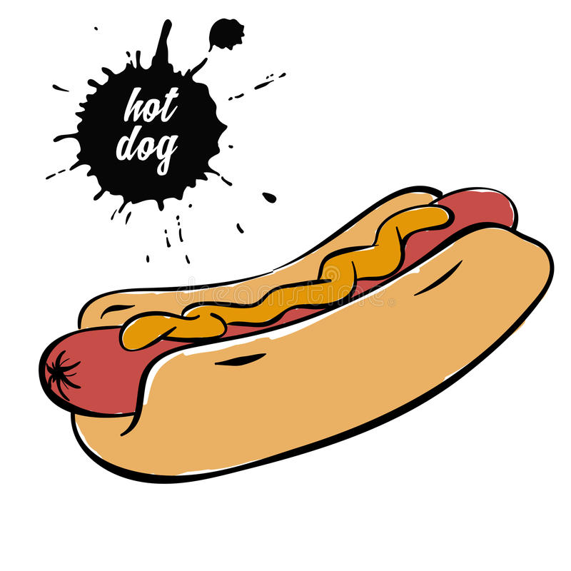 Hot dog con senape royalty illustrazione gratis