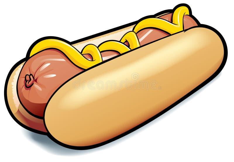Hot dog con senape - illustrazione fotografia stock