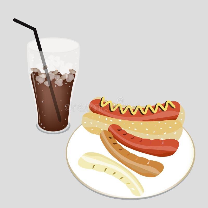 Hot-dog délicieux avec du café glacé délicieux illustration libre de droits