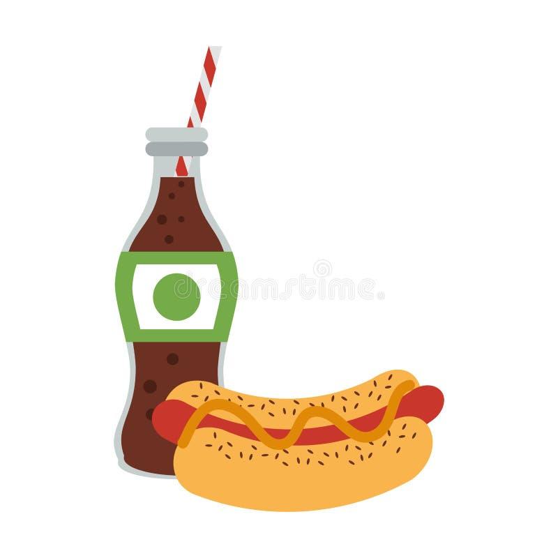 Hot-dog d'aliments de préparation rapide avec la bouteille de soude de kola illustration stock