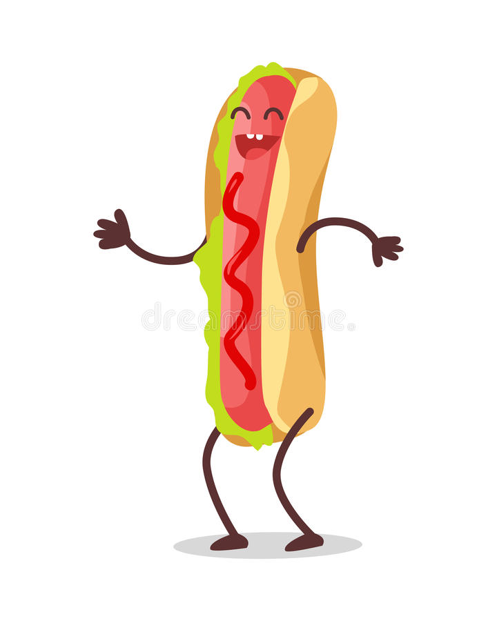 Hot Dog Dancing Isolated on White. Funny Food royalty free illustration