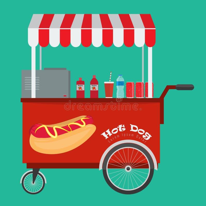 Hot dog degli alimenti a rapida preparazione e carretto dell'hot dog della via con la tenda illustrazione di stock