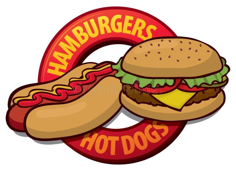 Hot dog dell'hamburger illustrazione vettoriale