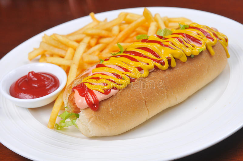 Hot dog. S and French fries royalty free stock images