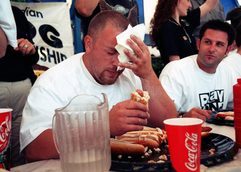 Download Hot Dog Eating Championship Editorial Photo - Image of result, face: 4586301