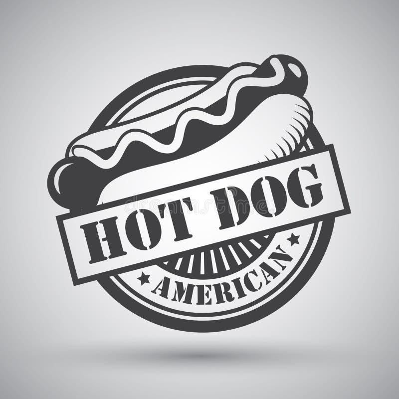 Hot dog emblemat royalty ilustracja