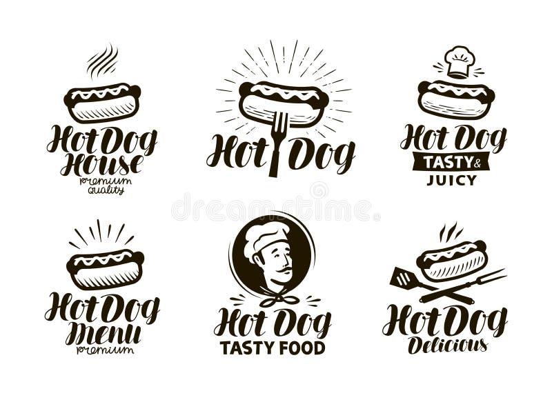 Hot dog etykietka lub logo Fast food, je emblemat Typograficzna projekta wektoru ilustracja royalty ilustracja