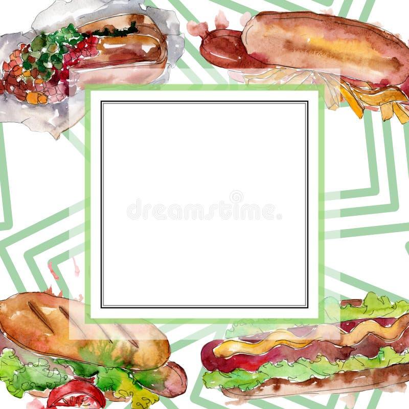 Hot dog fast food isolated. Watercolor background illustration set. Frame border ornament square. Hot dog fast food isolated. Watercolor background illustration stock illustration
