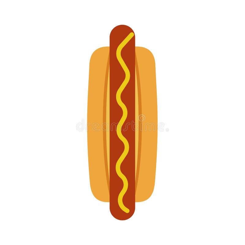 Hot dog fastfood odgórnego widoku wektoru obiadowa niezdrowa wyśmienicie ikona Graficzny karmowy czerwony kiełbasiany śniadanie z ilustracja wektor