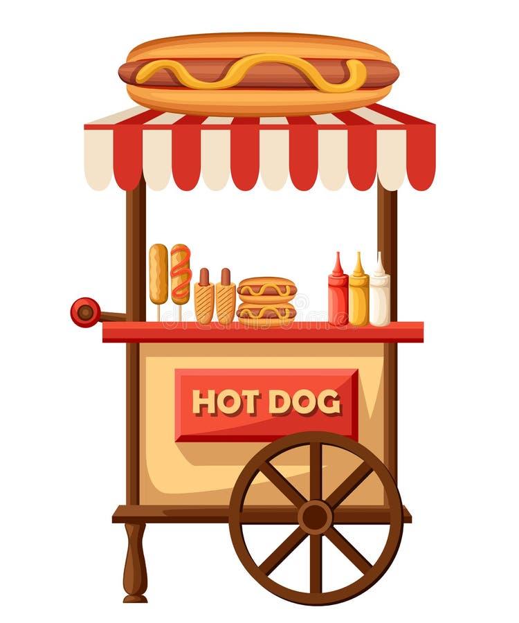 Hot dog Flat design illustration of fast food car. Mobile retro vintage shop truck icon with signboard with big hot dog. Si stock illustration