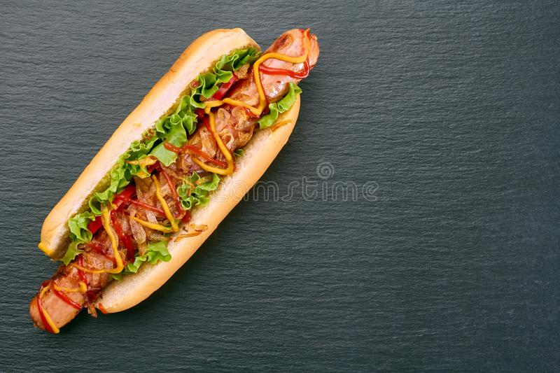 Hot dog with fried onion and tomatoes on dark slate stock images