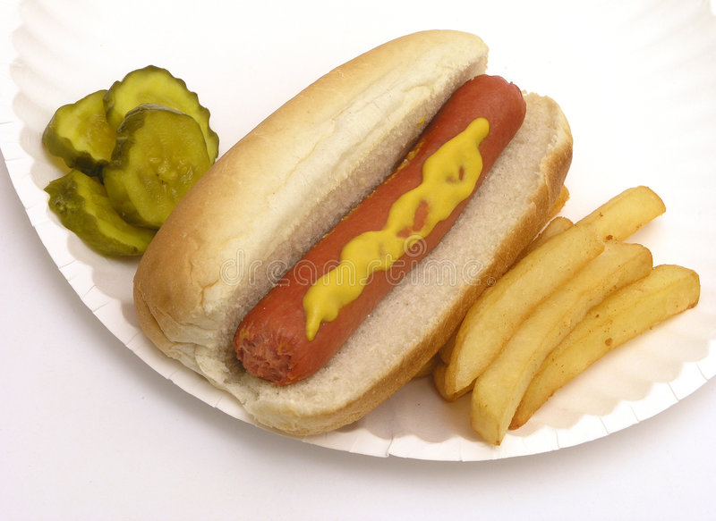 Download Hot Dog Fries Pickles stock image. Image of fries, paper - 457905