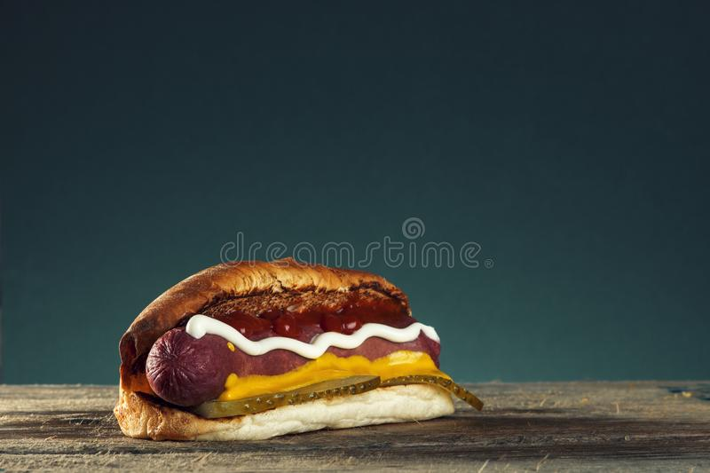 Hot-dog grillé par barbecue avec de la moutarde jaune images stock