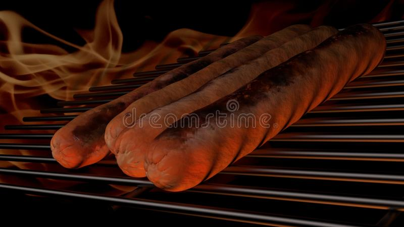 Hot dog on the grill of a bbq royalty free stock photo