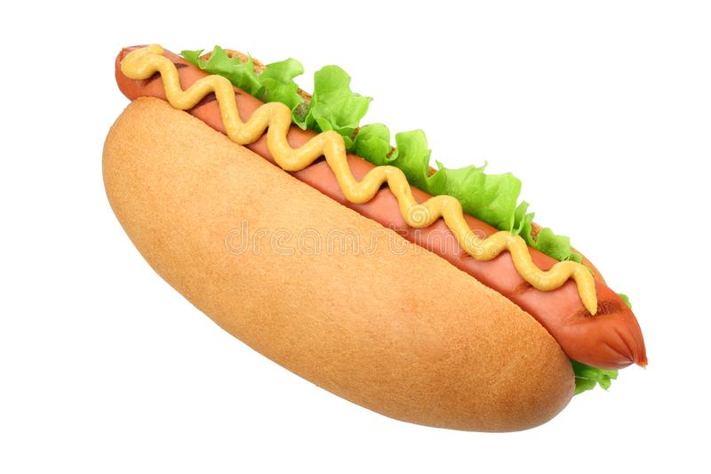 Hot dog grill with lettuce and mustard isolated on white background. fast food stock photo