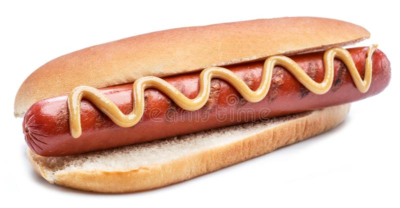 Hot dog - grilled sausage in a bun isolated on white background.  stock photo