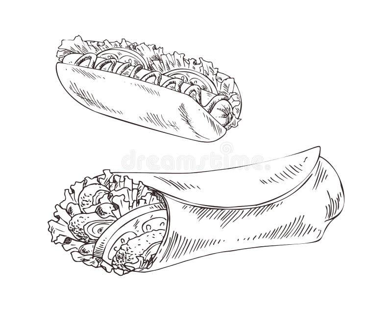 Hot Dog i Burrito fasta food wektoru ilustracja royalty ilustracja