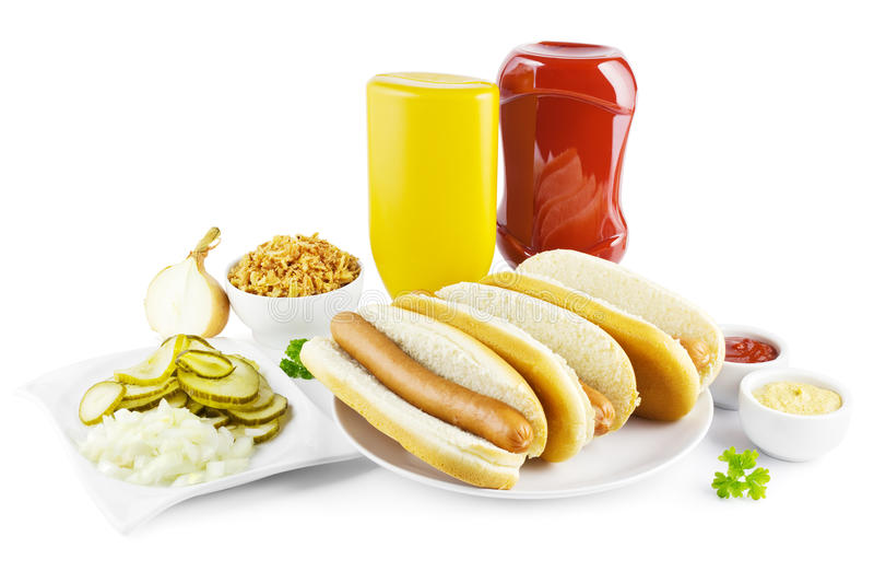 Hot dog i składniki fotografia stock