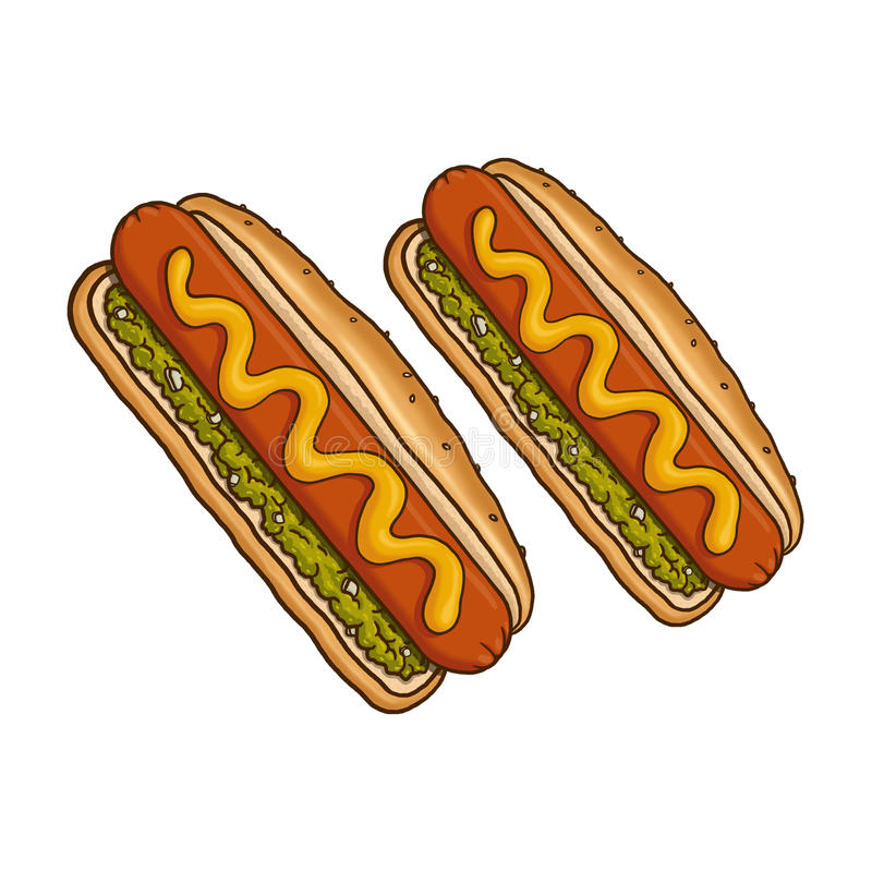 Hot dog ilustracyjni royalty ilustracja