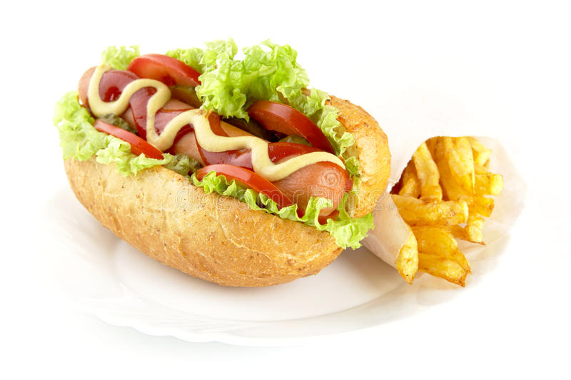 Download Hot Dog With Ingredients With French Fries On Plate On White Background Stock Photo - Image: 83712977