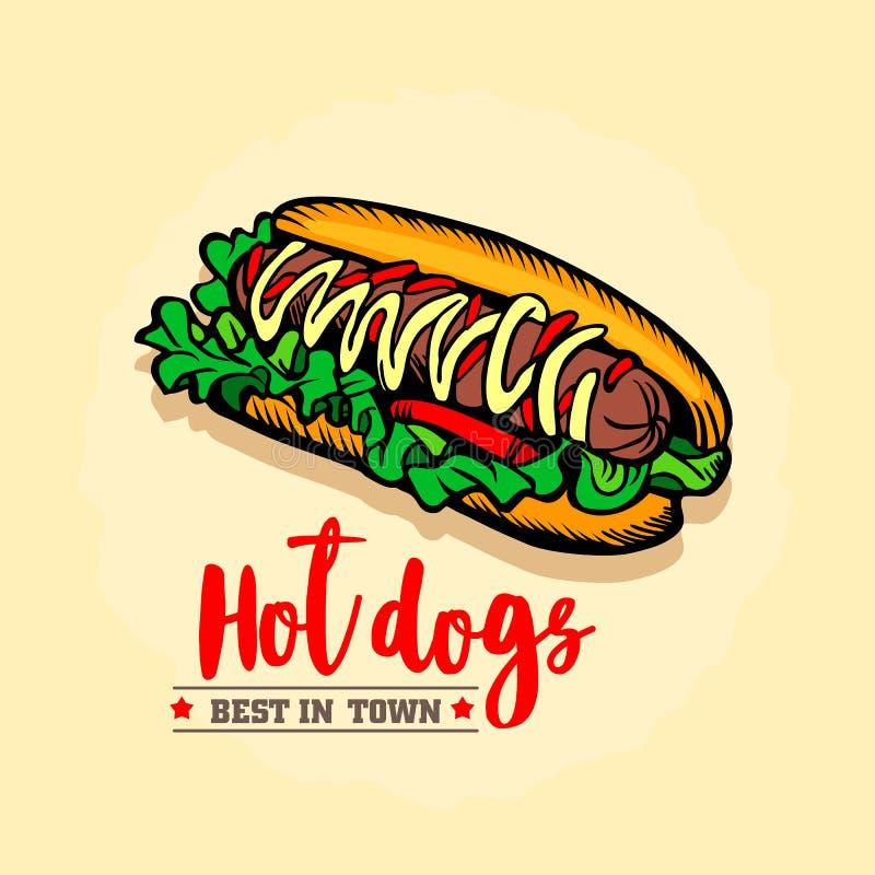 Hot dog ison. Fast food emblem. Retro design. stock photo