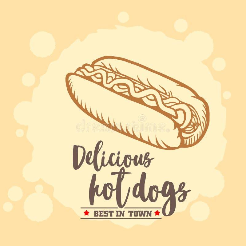 Hot dog ison. Fast food emblem. Retro design. stock photos