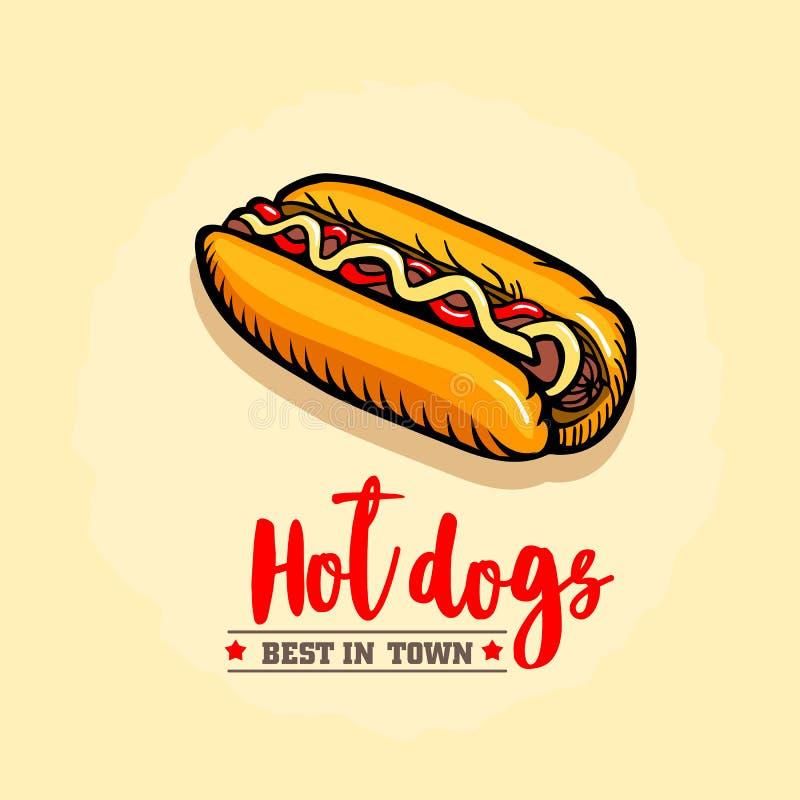Hot dog ison Fasta food emblemat projekt retro royalty ilustracja